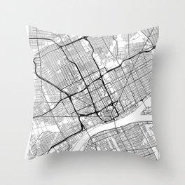 Detroit Map White Throw Pillow