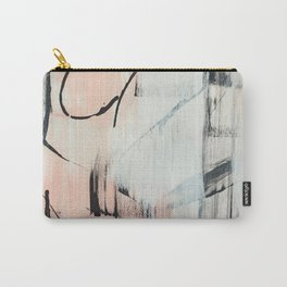 Sweet Tart: a minimal abstract mixed-media piece in pink black and white by Alyssa Hamilton Art Carry-All Pouch