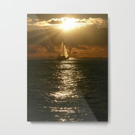 Honolulu Sunset Sail Metal Print