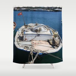 Moored Fishing Boat Shower Curtain