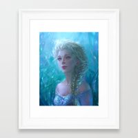 frozen elsa Framed Art Prints featuring Frozen Elsa by hart-coco