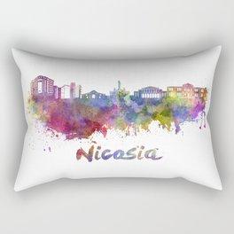 Nicosia skyline in watercolor Rectangular Pillow