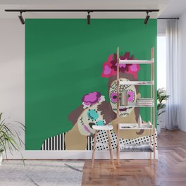 Sugar Skull Halloween Girls Green Wall Mural