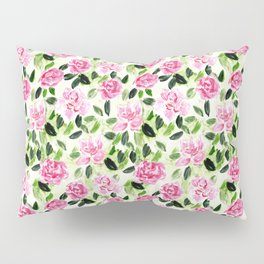 Pink and Green Garden Floral Pattern Pillow Sham