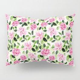 Pink and Green Garden Floral Pattern Pillow Sham