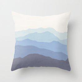 Abstract, Blue, Landscape, Scandinavian, Modern art, Art, Minimal, Wall art Print Throw Pillow
