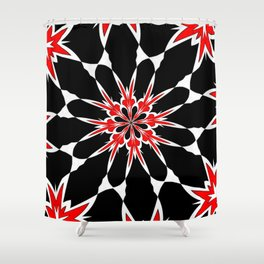Bizarre Red Black and White Pattern 3 Shower Curtain