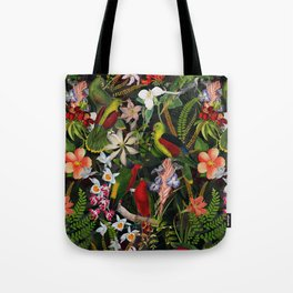 Vintage & Shabby Chic - Black Tropical Parrot Night Garden Tote Bag