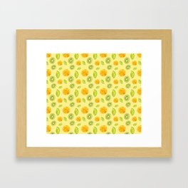 Tropical, fresh and citric fruits Framed Art Print