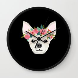 Chihuahua dog breed floral crown chihuahuas lover pure breed gifts Wall Clock