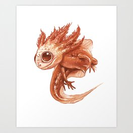 Pink Axolotl Art Print