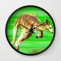 kangaroo Wall Clocks featuring Kangaroo by wingnang