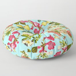 Lemon and Leaf Pattern IV Floor Pillow