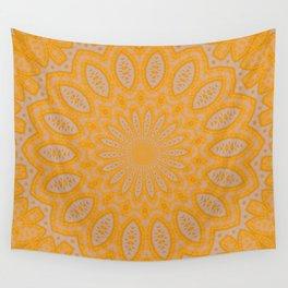 Orange Lace Kaleidoscope Wall Tapestry