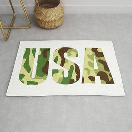 USA khaki camouflage sign Rug
