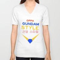 gundam V-neck T-shirts featuring Gundam Style by Joynisha Sumpter