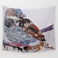 sparrow Wall Tapestries featuring sparrow by Ruud van Koningsbrugge