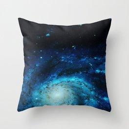 Teal Pinwheel Galaxy Throw Pillow