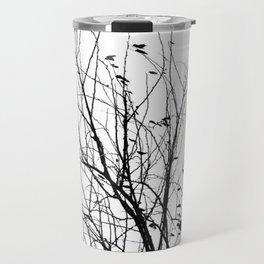 Black white tree branch bird nature pattern Travel Mug