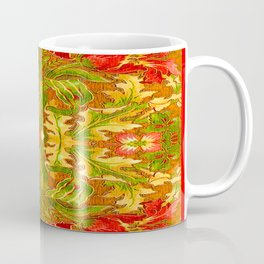 French Tapestry Style Red Poppy Floral Coffee Mug
