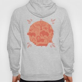 Zoo Animal Patten in Coral Hoody