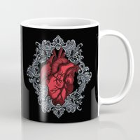 anatomical heart Mugs featuring Anatomical  by the inked skull