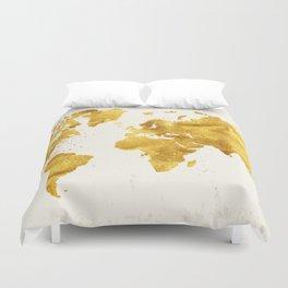 24 Karat World, faux gold world map Duvet Cover