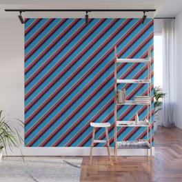 Blue Red Inclined Stripes Wall Mural