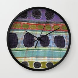 Dominating Black Round Shapes In Horizontal Stripes   Wall Clock