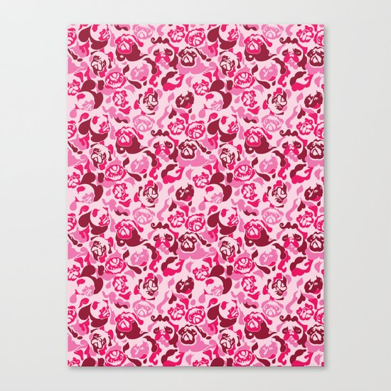 Pug Camouflage Pink Canvas Print
