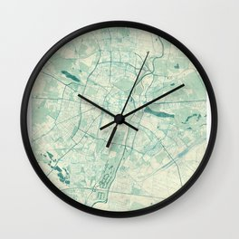 Poznan Map Blue Vintage Wall Clock