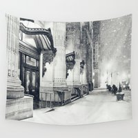 globe Wall Tapestries featuring New York City Snow Globe by Vivienne Gucwa