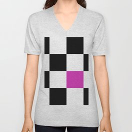 Hot Pink Checkerboard Unisex V-Neck