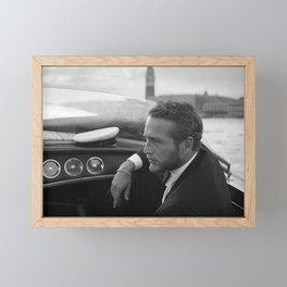 1963 Paul Newman at Venice Film Festival black and white photograph Framed Mini Art Print