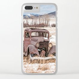Rusty, Antique Auto in a Snow-Covered Field Clear iPhone Case