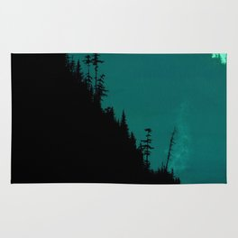 Int The Woods - Dark Forest Landsape - Teal Rug