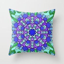 Kaleidoscope of Cool Colors Throw Pillow