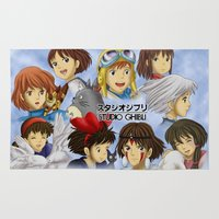 studio ghibli Area & Throw Rugs featuring Studio Ghibli Girls by Art of Nym