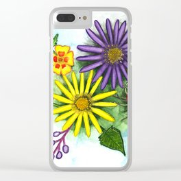 Aster Flowers Clear iPhone Case