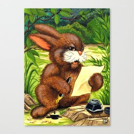 RABBIT WRITING A LETTER Canvas Print