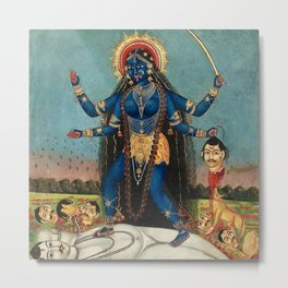 Hindu Destruction Goddess Kali 24 Metal Print