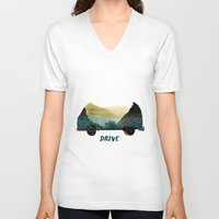 drive V-neck T-shirts featuring drive by yuvalaltman