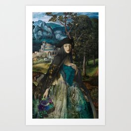 """""""Mystery woman in the forest among flowers"""" Art Print"""