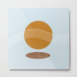 Wooden Sun Reflection Metal Print