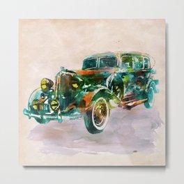 Vintage Car in watercolor Metal Print