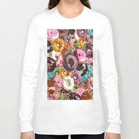 donuts Long Sleeve T-shirts featuring Donuts by Tina Mooney