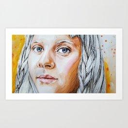 Girl with gray hair Art Print
