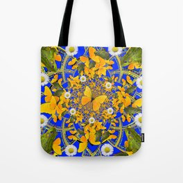 GREEN FROGS & BUTTERFLY WHITE DAISIES BLUE MANDALA Tote Bag