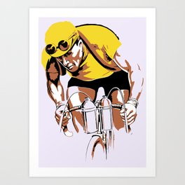 The yellow jersey (retro style cycling) Art Print
