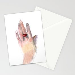 Red lips ring Stationery Cards